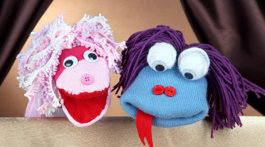 Two sock puppets