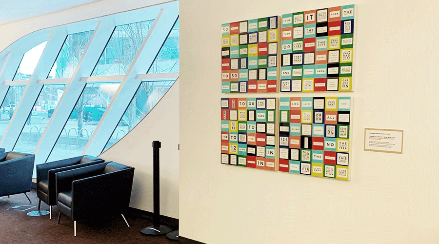 4 panel art display in City Centre READ-Ability Lounge